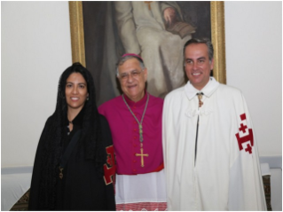 A couple of members of the Order together with the Latin Patriarch of Jerusalem